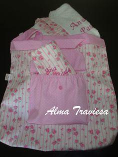 Bolso maternal personalizado, turbante para el cabello talle S y bata haciendo juego