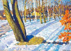 Neige de mars, huile sur toile de Igor Emmanuilovich Grabar (1871-1960, Hungary)