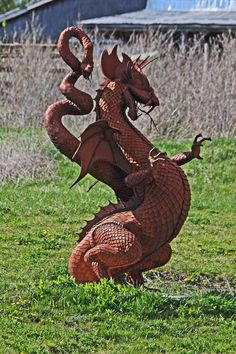 Dragon outside Cannington, Ontario created by artist/sculptor Ken Nice Artist Names, Backyard Landscaping, Ontario, Garden Sculpture, The Outsiders, Dragon, Landscape, Nice, Create
