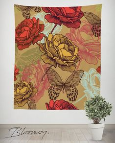 Floral Tapestry Peonies and Roses Print Wall Hanging Decor