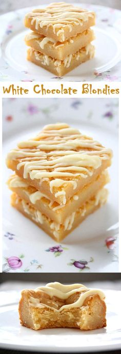 White Chocolate Blondies. Chewy edges and fudgy, dense centers http://collectingmemoriess.blogspot.com/2015/05/white-chocolate-blondies.html