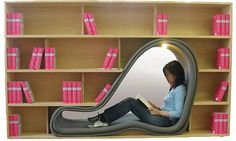 library with a nook for reading