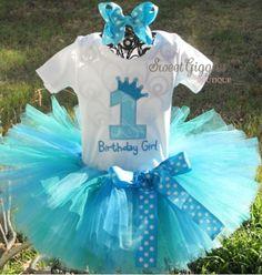 Aqua Sea Princess Birthday Tutu Outfit