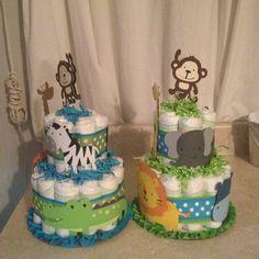 Jungle diaper cake centerpieces