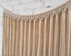 Large Macrame Wall Hanging/Curtain by ZimZoo on Etsy Gold Curtains, Ikea Curtains, Drop Cloth Curtains, Floral Curtains, Rustic Curtains, Velvet Curtains, Colorful Curtains, Hanging Curtains, Roman Curtains