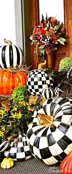 MacKenzieChilds~Small & Large Courtly Check Pumpkin, Large Courtly Stripe Pumpkin–I LOVE the gold stems! It's a nice touch to the black & white Fall Pumpkins, Halloween Pumpkins, Halloween Crafts, White Pumpkins, Thanksgiving Decorations, Halloween Decorations, Seasonal Decor, Holiday Decor, Table Decorations