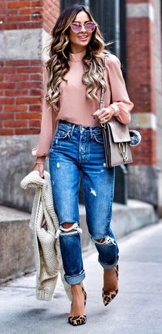 how to mix animal print with ripped jeans