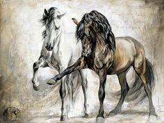 Reproductions giclées sur toile - giclée prints on canvas — Elise Genest Horse Pictures, Pictures To Paint, Art Pictures, Painting Pictures, Horse Canvas Painting, Abstract Canvas Wall Art, Painted Horses, Horse Dance, Horse Horse