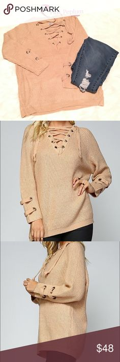 "🆕Boho cozy lace up sweater with cuff detail Lace up sweater in color beige  Features: Very trendy Goes with everything On trend lace up neckline Long sleeves Detail at cuff Pullover style Material: 80% acrylic, 20% cotton Boutique clothing  Please note that the material has good amount of stretch.   Measurements:  Small: Bust : 36""-42"" Length: 26.5""  Medium: Bust: 38""-44"" Length:27""  Large: Bust: 40""-46"" Length:27""  Above measurements are in inches Pink Peplum Boutique Sweaters"