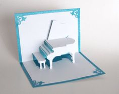 GRAND PIANO 3D Pop Up Greeting Card For Music Lovers Home