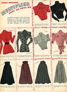 A wonderful array of blouses and skirts from the May 1940 edition of Marie Claire magazine