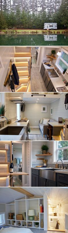 Built by Tiny Heirloom for their client, Karin, the Tiny Replica Home is a miniature version of her beach cottage. The tiny house on wheels will allow Karin and her granddaughter, Hale, to visit family and friends around the country. Small Tiny House, Tiny House Living, Tiny House Plans, Tiny House Design, Loft Design, Cottage Stairs, Tiny House Stairs, Loft House, New Home Designs