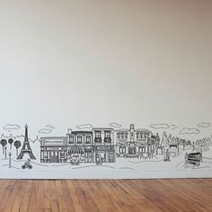 Doodle Paris Scene Small Wall Decal