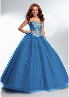 Shimmering Sweetheart Neckline Ball Gown Floor Length Turquoise Tulle Pretty Quinceanera Dresses at sweetdressale.com