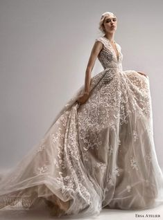 Wedding Gowns With Sleeves, White Wedding Dresses, Gown Wedding, Wedding Bride, Bridal Dresses, Ersa Atelier, Chapel Train, Dream Dress, Bridal Collection