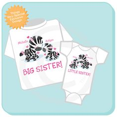 Set of Two Big Sister and Little Sister Zebra by ThingsVerySpecial