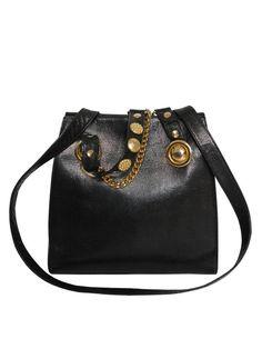 1f39e5d9bc99 Reserved ------------ GIANNI VERSACE COUTURE 1990s Vintage Handbag Black  Leather Gold-Tone Signature Details Medusa