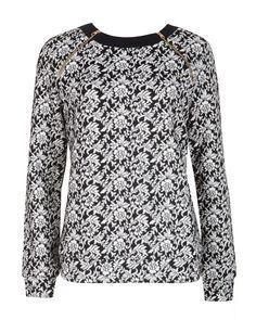 Floral jacquard jumper - Black | Sweaters | Ted Baker