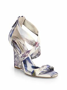 Burberry Mustoe+Ikat-Print+Satin+Wedge+Sandals