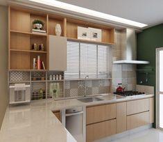 Tons neutros madeira e o toque de cor ficou por conta da parede lateral. House Design, House, Cool Kitchens, Interior, Kitchen Cabinets, Kitchen Decor, Sweet Home, Kitchen Accessories, Kitchen Design