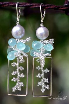 Silver Pearls with Aqua Chalcedony and Sterling Silver Beaded Coral Hoop Earrings by Keelin Brett. $96.00, via Etsy.
