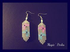 Boucles d'oreilles envolée de papillons bleu et rose