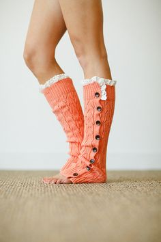 Lace Leg Warmers Coral Lacy Knitted Button Down Leg Warmers Boot Cuffs with Crochet Trim Button Up LegWarmers Lace Boot Socks, Boot Cuffs, Crochet Ruffle, Crochet Trim, Knit Crochet, Knit Leg Warmers, Boot Toppers, Lace Knitting, Knit Lace