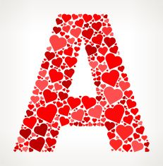 Letter A Icon with Red Hearts Love Pattern vector art illustration