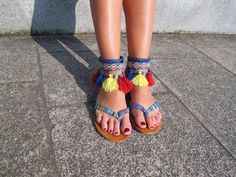 How cute are the tassels! Really digging these funky bright boho sandals.