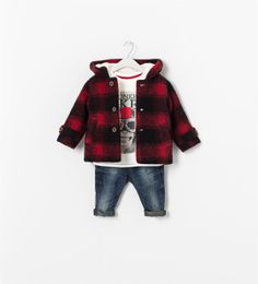 CHECKED COAT WITH HOOD from Zara baby infant toddler kids