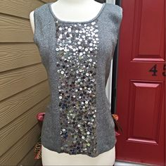 "Sequined Gray Top This is so stretchy and soft. 34"" bust and  24"" long. Lauren Michelle Tops"