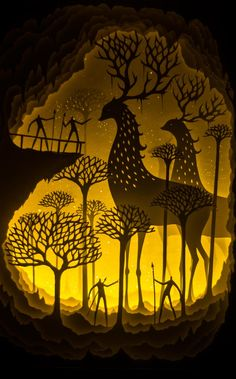 Deepti Nair and Harikrishnan Panicker, two Colorado-based artists who create stunning works of illuminated fairytale paper art Paper cutting, shadow lesson Kirigami, Illustrations Poster, Illustration Art, Licht Box, Shadow Art, Shadow Puppets, Art Plastique, Paper Cutting, Cut Paper