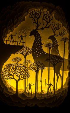 Fascinante estrutura de papel com iluminação ao fundo. Por Hari e Deepti