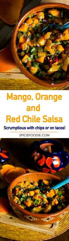 Mango, Orange, and Red Chile Salsa Recipe | #mexicanfood #mangos #salsa