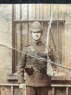 This is another photo of my Great Grandfather Constable David Dixon. The photo was taken on 16/07/08 at Roden Street RIC barracks Belfast just before he was sent to Derry for temporary duty.