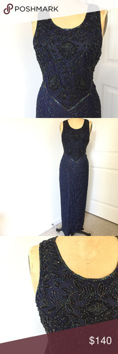"""Vintage Beaded Gown. Sz XL. Beautiful vintage navy blue sleeveless gown. Embellished and beaded throughout. Silk chiffon with iridescent beads. Size XL. Great for a size 14 or 16. Back slit. 20""""across chest. 36""""waist. 42""""hip. 57"""" total length, from shoulder to hem. Purse included!! Dresses"""