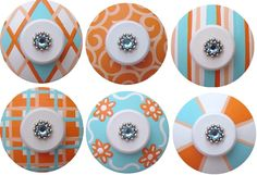 Set of 6 Light Aqua Orange and White Handpainted Swarovski Crystal Jeweled Drawer KNOBS. $51.00, via Etsy.