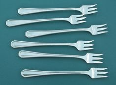 DESOTO 6 Seafood Coctail Forks Rogers 1929 Antique Silverplate Flatware #International1847Rogers
