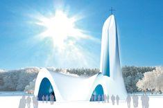 Weihnachten in einer Kirche aus Schnee