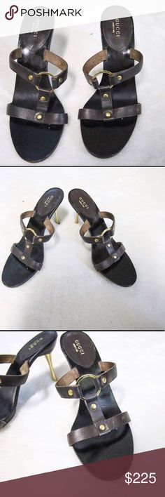 GUCCI brown leathers/ gold  strapgy heels sz 38 Gucci brown leather strappy sandals with gold heels  no back.  Previously Worn with a few flaws but great condition  sz 38 Gucci Shoes Heels