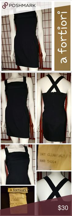 Little Black Dress! Fabulous LBD from a fortiori.  Crisscross back.  Square neckline.  Slits at each side approx 3in.  Sz 9/10.  Measurements lying flat armpit to armpit 18in, waist 15in, length armpit to hem 25in.  Great condition.  No stains or tears.  From smoke free home. a fortiori Dresses