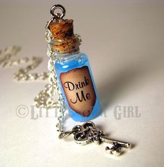 Drink Me Alice in Wonderland -   Glass Bottle Cork Necklace with Key. Blue Liquid Shimmer.   necklace chain, a little screw to put in the cork and some glue!!