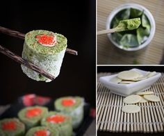 Sprinkle Bakes: Matcha Cake Sushi Rolls Recipe from Elizabeth Faulkner, author of the unconventional cookbook Demolition Desserts. Dessert Sushi, Sushi Cake, Dessert Blog, Dessert Table, Sushi Cupcakes, Matcha Dessert, Just Desserts, Delicious Desserts, Sushi Roll Recipes