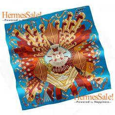 Hermes Point d'Orgue Blue Silk Twill Scarf 90cm