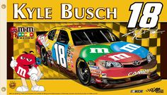 Support your favorite driver by hanging this flag from B.I Products. This high-quality flag is made of durable polyester and is designed w M&m Nascar, Nascar Flags, Nascar Party, Sports Flags, Kyle Busch Car, Flags For Sale, Custom Flags, Mirror Image, Banner