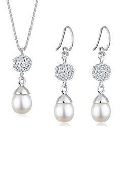 Perlu Set: Schmuckset »Perle Swarovski Kristalle 925 Sterling Silber« 2 tlg.