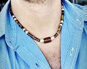Tiger Eye - Agate - Calcite Men Gems Necklace - surfer necklace New Custom Handmade Unisex Gemstone Necklace - Tribal Necklace