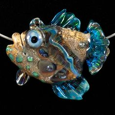 Glass Lampwork Beads Fish - Turquoise Green Ocean Grouper by Patsy Evins