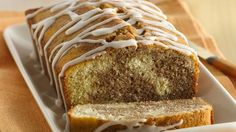 Enjoy the cinnamon flavor in this delicious pound cake roll that's drizzled with vanilla.