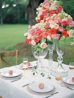 Serious floral centerpieces: http://www.stylemepretty.com/2014/09/16/elegant-floral-filled-southern-garden-bridal-inspiration/ | Photography: Ashley Kelemen - http://ashleykelemen.com/